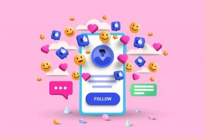 Plakat 3D Social media platform, online social communication applications concept, emoji, hearts, chat and chart with smartphone background. 3d Vector illustration