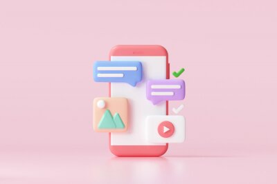 Plakat 3D Social media platform, online social communication applications concept, emoji, webpage, search icons, chat and chart with smartphone background. 3d illustration