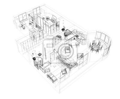3d szkic czteropokojowe mieszkanie
