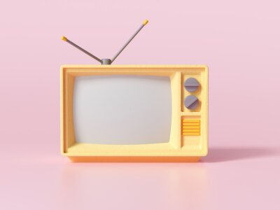 Plakat 3D Yellow Retro Old Television on pink background, Vintage analog TV with copy space. 3d render illustration.