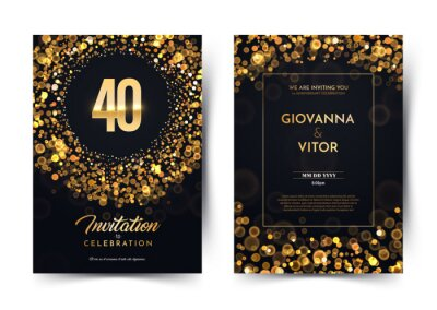 Plakat 40th years birthday vector black paper luxury invitation double card. Fourty years wedding anniversary celebration brochure. Template of invitational for print dark background with bokeh lights.