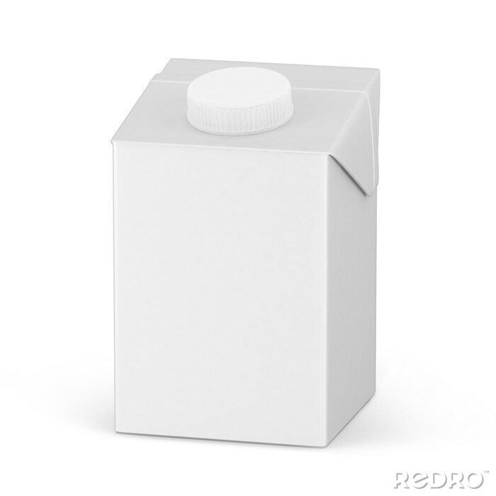 Plakat 500ml. Cardboard package mockup set of juice or milk boxes isolated on white. 3D render