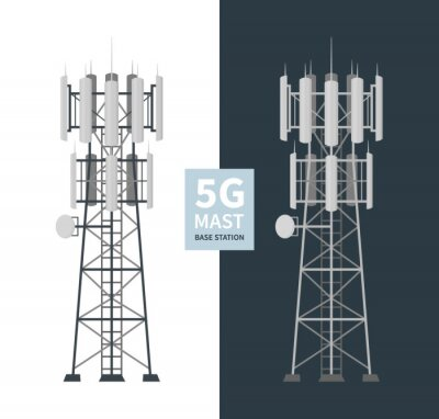Plakat 5G mast base stations set on white and dark background, flat vector illustration of mobile data towers, telecommunication antennas and signal, cellular equipment.