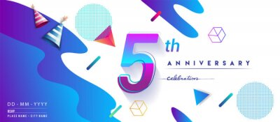 Plakat 5th years anniversary logo, vector design birthday celebration with colorful geometric background and circles shape.