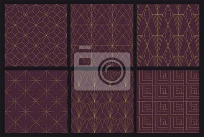 6 Art Deco bez szwu wzór - próbki wektorowe zawarte