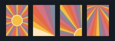 Plakat 60s, 70s, 80s retro banners set. Colorful retrowave striped vintage sun burst