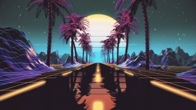 Plakat 80s retro futuristic sci-fi background. Retrowave VJ videogame landscape with neon lights and low poly terrain grid. Stylized vintage cyberpunk vaporwave 3D render with mountains, sun and stars. 4K