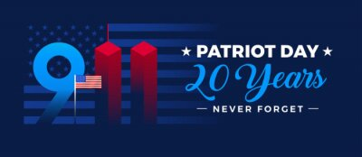 Plakat 9 11 Patriot Day memorial 20th anniversary September 11, 2001 banner - vector illustration with US flag, stars and stripes background