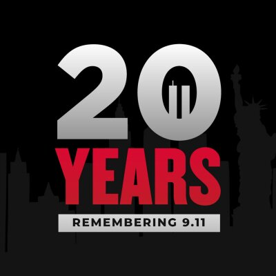 Plakat 9 11 remembrance day,  patriot day, we will  never forget, 20 years remembering 9-11 modern creative minimalist design concept, social media post, template with white text on a dark background