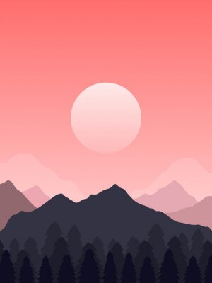 Plakat A 2D Reddish Peaceful Valley Illustration With Tres And Multiple Layers Of Mountains 4:3