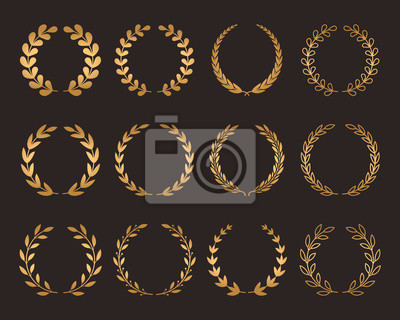Plakat A large set of various laurel golden wreaths. symbol of winner and champion.