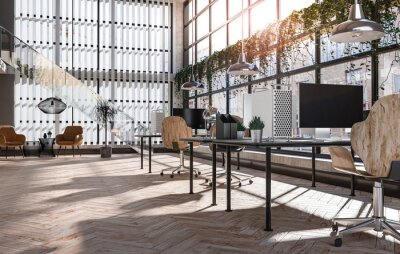 Plakat A modern loft office interior with glass, wood and plants finishes