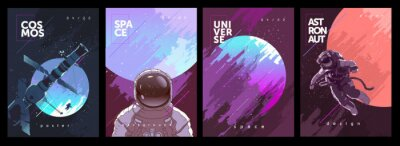Plakat A set of vector illustrations. Posters and backgrounds about the space and the universe. Space odyssey, space, astronaut, planets.