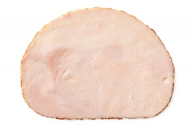 Plakat A single slice of chicken ham isolated on white. Top view.