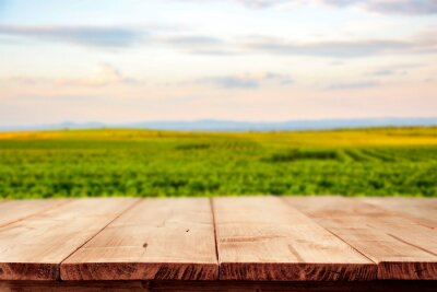 Plakat A table in a vineyard in a beautiful holiday sound with the sunset giving an amazing mood