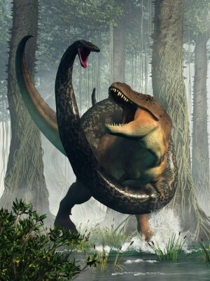 Plakat A tyrannosaurus rex has wandered into a swamp and found himself at odds with the largest snake ever known to exist: titanoboa