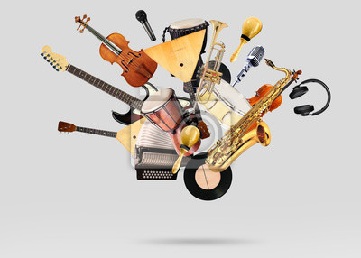 Plakat A variety of musical instruments in beautiful flight