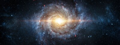 Plakat A view from space to a spiral galaxy and stars. Universe filled with stars, nebula and galaxy,. Elements of this image furnished by NASA.