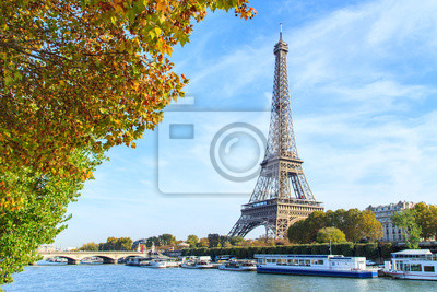 Plakat A view of a Seine river with Eiffel Tower in Paris, France