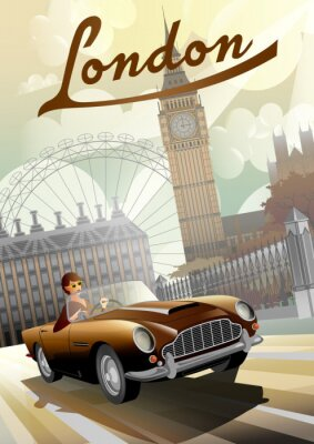 Plakat A young girl driving a retro car on the background of nglish houses and the Big Ben in London.