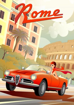 Plakat A young girl driving a retro car on the background of Roman houses and the Coliseum.