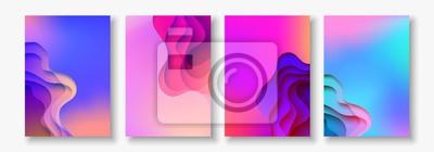 Plakat A4 streszczenie kolor papieru 3d sztuki ilustracji. Kontrast kolorów. Wektor wzór układ dla banerów, prezentacji, ulotki