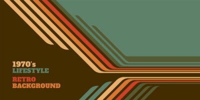 Plakat Abstract 1970's background design in simple retro style with stripes. Vector illustration.
