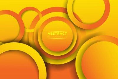 Plakat Abstract 3D circle papercut overlap layer orange gradient shape design modern futuristic background vector illustration