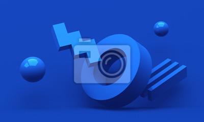 Plakat Abstract 3d render, modern geometric background, graphic design