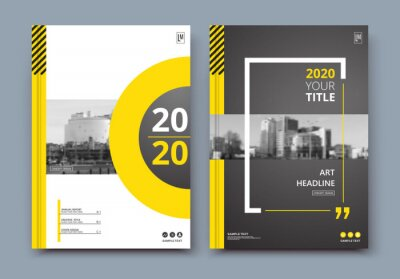 Plakat Abstract a4 brochure cover design. Ad text frame. Urban city view font. Title sheet model. Modern vector front page. Brand logo. Banner texture. Black, white ring figure, Yellow line icon. Flyer fiber