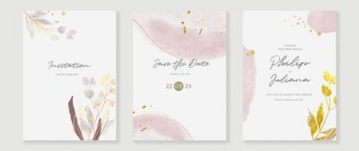 Plakat Abstract art background vector. Luxury invitation card background with golden line art flower and botanical leaves, Organic shapes, Watercolor. Vector invite design for wedding and vip cover template.