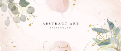 Plakat Abstract art background vector. Luxury minimal style wallpaper with golden line art flower and botanical leaves, Organic shapes, Watercolor. Vector background for banner, poster, Web and packaging.