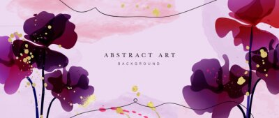 Plakat Abstract art flower background vector. Luxury minimal style wallpaper with golden line art floral and botanical leaves, Tulip, rose, Spring growing flowers and Organic shapes watercolor.