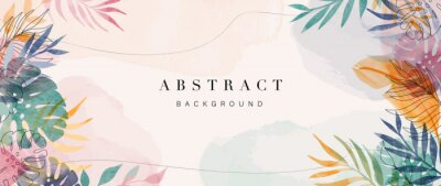 Plakat Abstract art gold tropical leaves background vector. Luxury wallpaper with watercolor, tropical leaf framed, palm leaf, flower,Vivid foliage, exotic green and gold brush glitter.