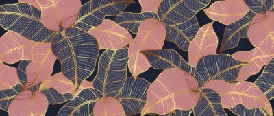 Plakat Abstract art Golden leaves background vector. Wallpaper design with line art texture from monstera leaves, Jungle leaves, exotic botanical floral pattern. Design for prints, banner, wall art.