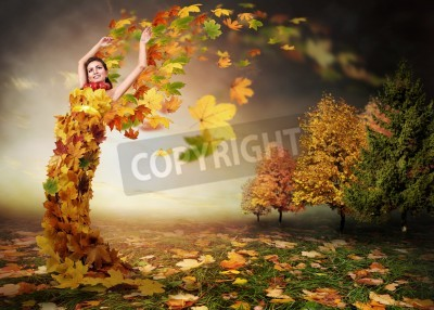 Plakat Abstract autumn image. Lady Autumn with leaves wings
