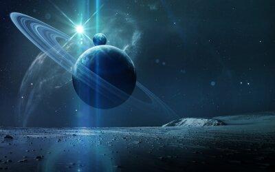 Plakat Abstract background naukowy - planet w przestrzeni, Mgławica i gwiazdy. Elementy tego zdjęcia dostarczone przez NASA nasa.gov