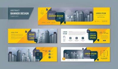 Plakat Abstract banner design web template Set, Horizontal header web banner. Modern cover header