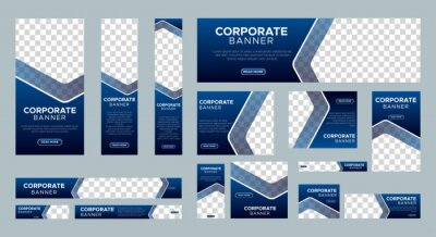 Plakat Abstract banner design web template Set, Horizontal header web banner. Modern Gradient Blue cover header background for website design, Social Media Cover ads banner, flyer, invitation card