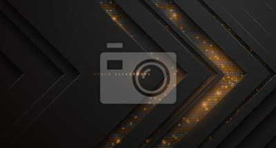 Plakat Abstract black and gold background