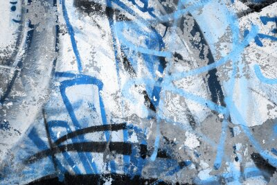 Plakat Abstract blue graffiti fragment on gray urban concrete wall