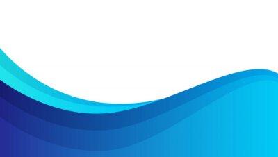 Plakat abstract blue wavy shape background