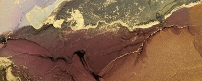 Plakat Abstract brown wave blots background. Alcohol ink colors. Marble texture.