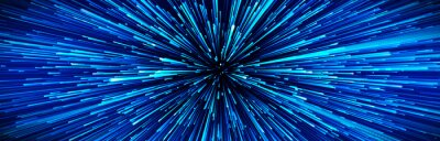 Plakat Abstract circular speed background. Centric motion of star trails. Starburst dynamic lines or rays. 3D rendering.