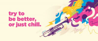 Plakat Abstract colorful background with splashes, trumpet and slogan. Vector illustraton.