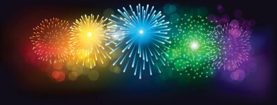 Plakat Abstract colorful firework on black background for celebration
