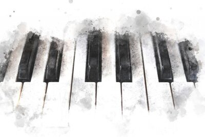 Plakat Abstract colorful piano keyboard on watercolor illustration painting background.