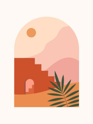 Plakat Abstract contemporary aesthetic background with desert landscape, stairs, palm, mountains, Sun. Earth tones, burnt orange, terracotta colors. Boho wall decor. Mid century modern minimalist art print.