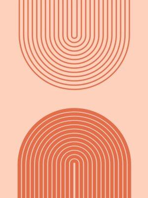 Plakat Abstract contemporary aesthetic background with geometric balance shapes, rainbow gates. Boho wall decor. Mid century modern minimalist neutral art print. Organic shape. Terracotta color, earth tone.