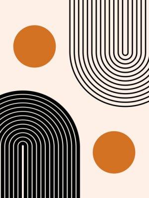Plakat Abstract contemporary aesthetic background with geometric balance shapes, two rainbow and sun circles. Boho wall decor. Mid century modern minimalist print. Neutral Geometric art. Organic shape.